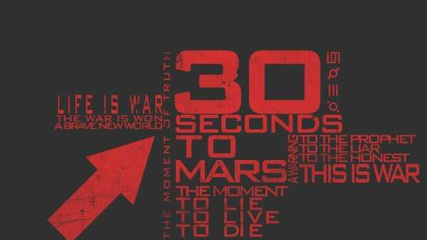 30 seconds to mars, text, arrow
