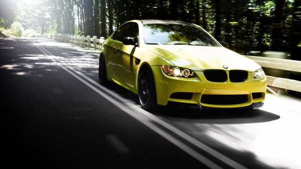 auto, bmw m3, yellow