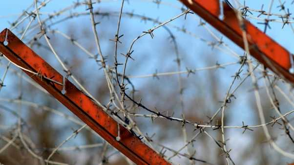 barbed wire, stretched, metal