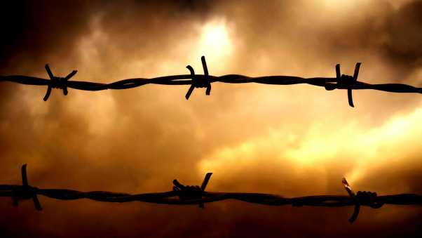 barbed wire, sunset, sky