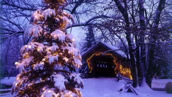 barn, tree, garland