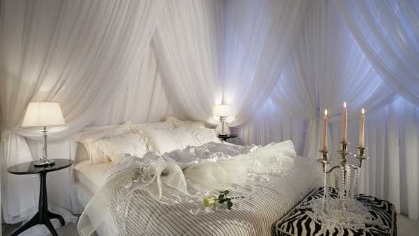 bedroom,  bed, white candles