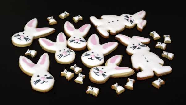 biscuits, rabbits, glaze