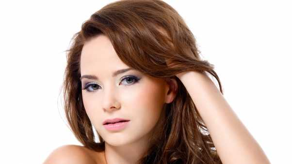 blue eyes, brown hair, white background