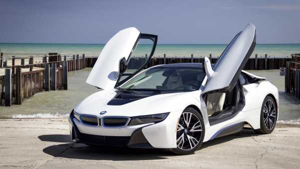 bmw i8, white, side view