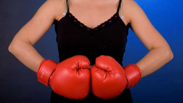 boxing, girl, black background