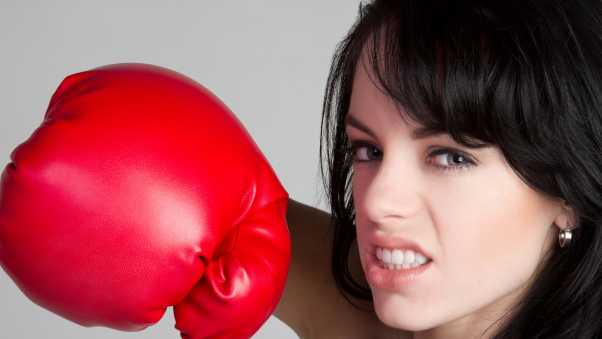 boxing, girl, gray background