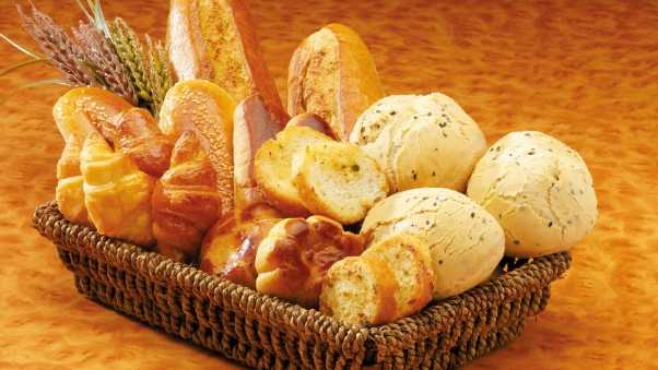 bread, basket, baking