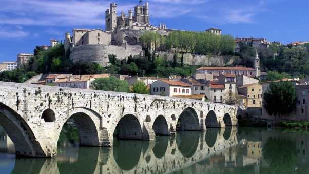 bridge, old, stone buildings