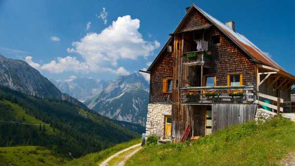 building, nature, mountains