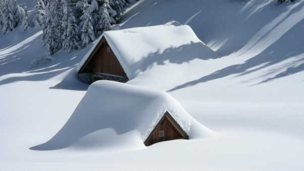 building, snow, hill