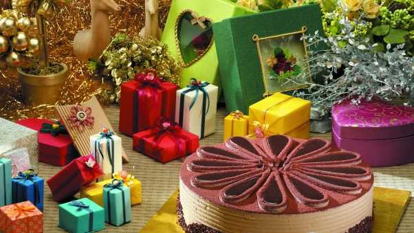 cake, gifts, decoration