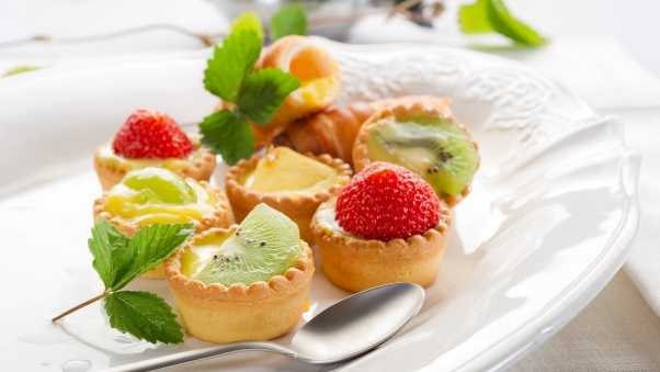 cakes, tarts, fruit