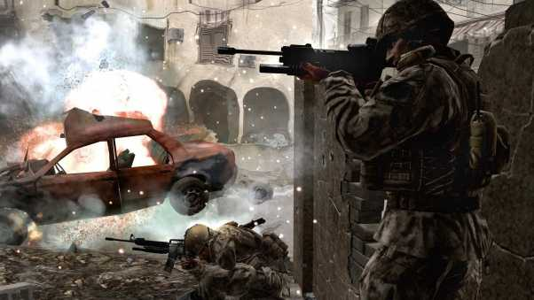 call of duty 4 modern warfare, soldiers, machine