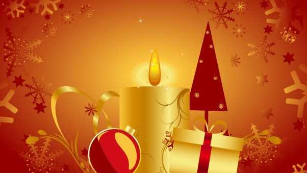 candle, christmas tree, gifts