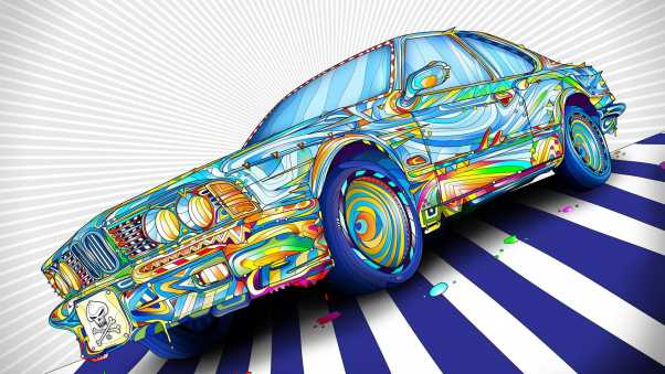 car, colorful, graphic