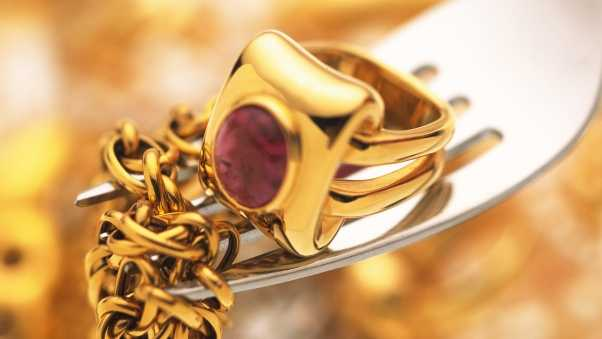 chain, ring, gold