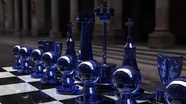 chess, silver, glass