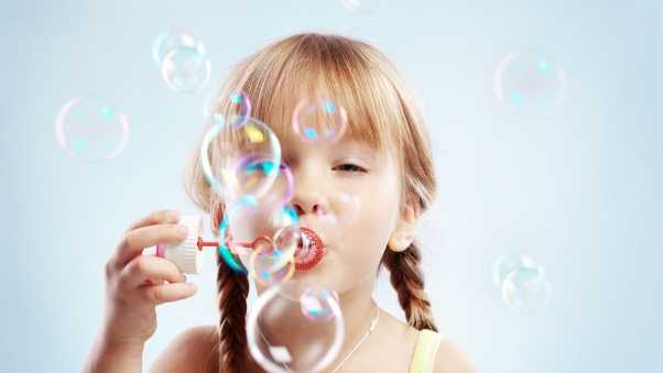child, bubbles, game