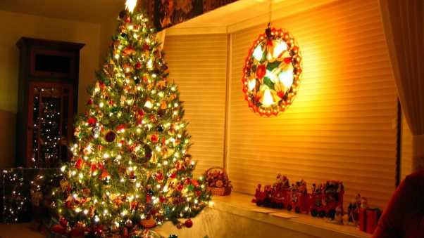 christmas tree, gifts, garlands