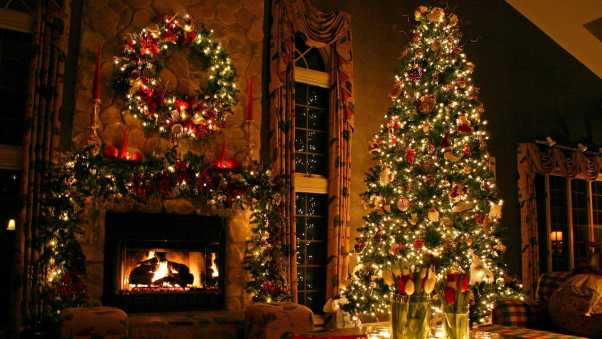 christmas tree, ornaments, fireplace