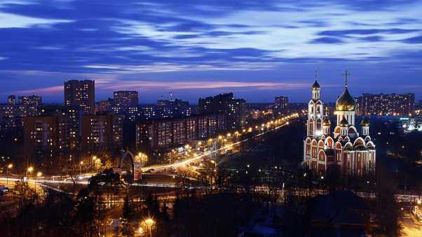 city, night, cathedral