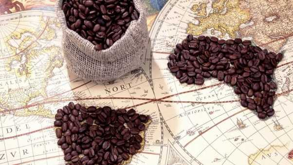 coffee, map, travel