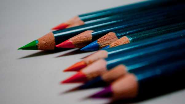 colored pencils,  set, edge