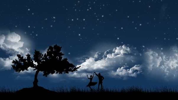 couple, dance, sky