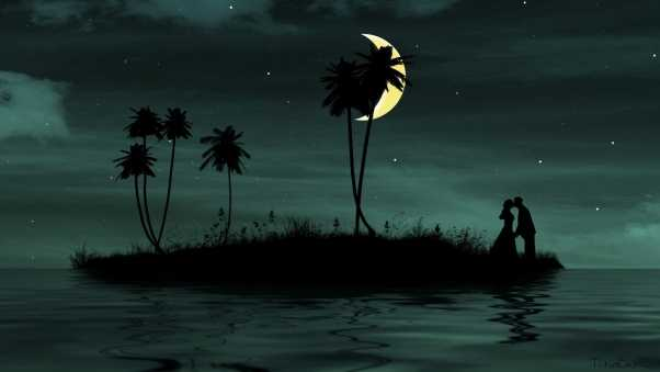 couple, moon, island
