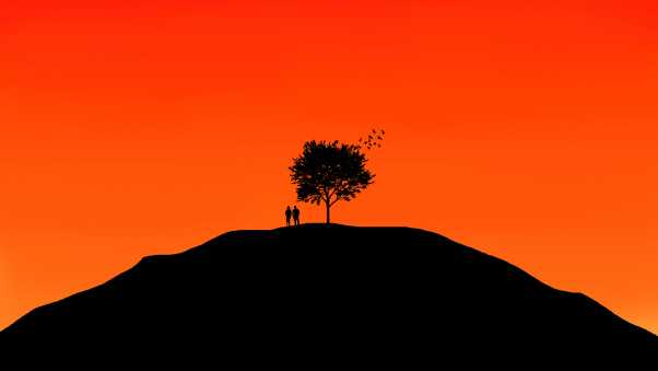 couple, tree, sky