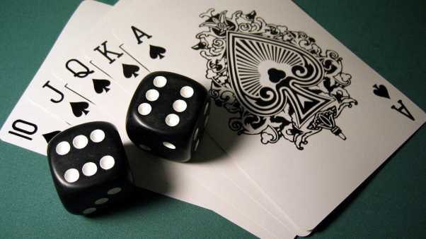 cubes, cards, poker