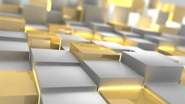 cubes, silver, gold