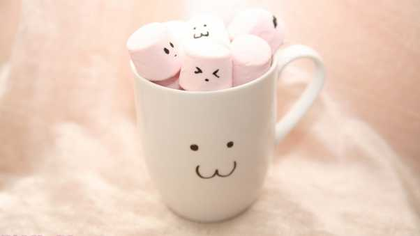 cup, marshmallow, smiles