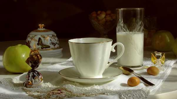 cup, teapot, candy