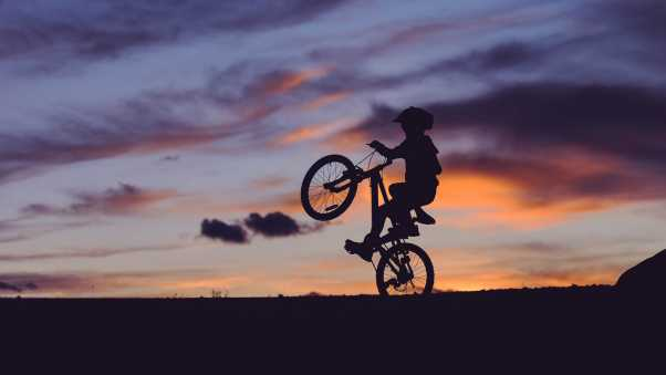 cyclist, silhouette, sunset