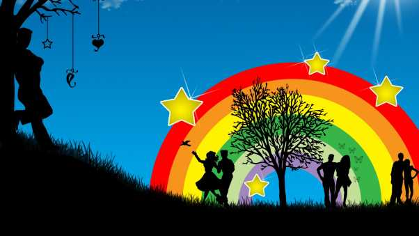 dance, people, rainbow