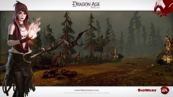 dragon age origins, girl, fire