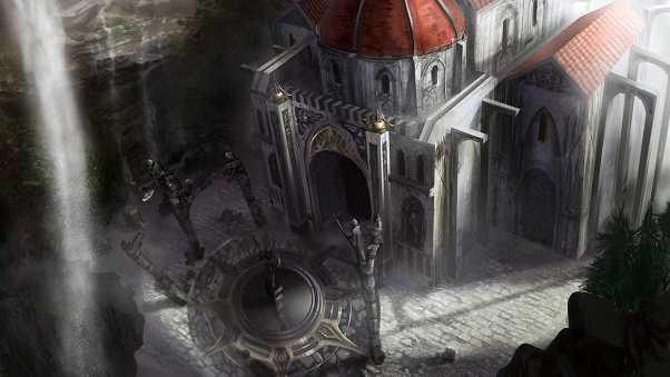 dungeon siege, cathedral, waterfall