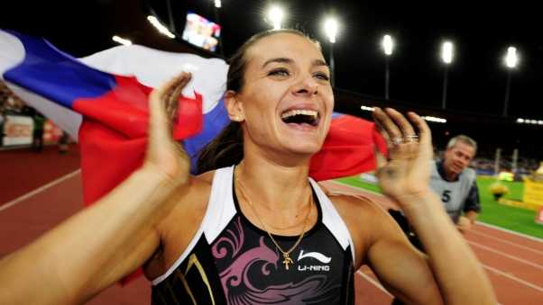elena isinbaeva, girl, flag