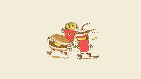 fast food, cola, french fries