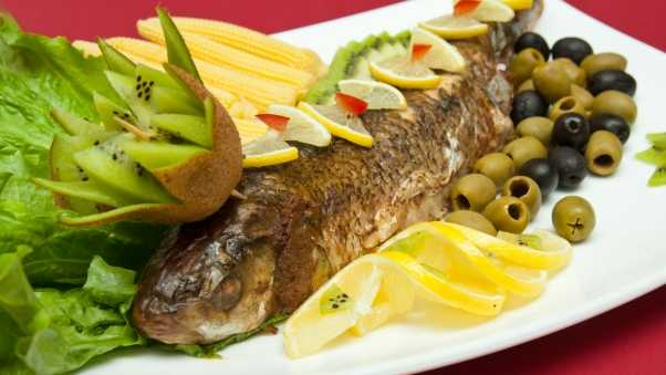 fish, olives, lemon