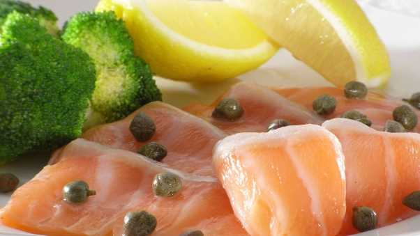 fish, salmon, lemon