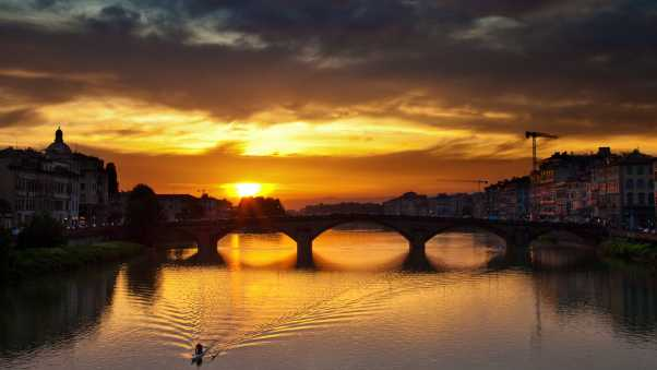 florence, river, sunset