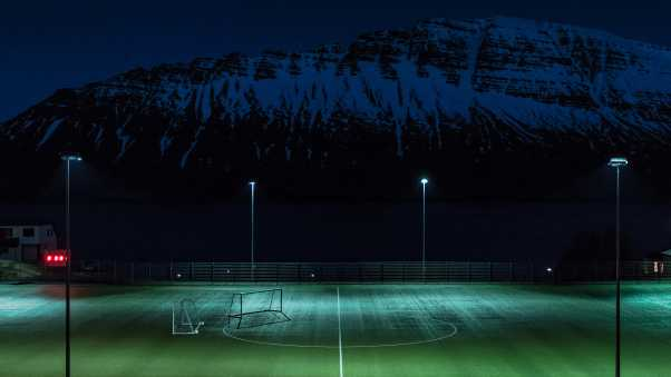 football field, night, lawn