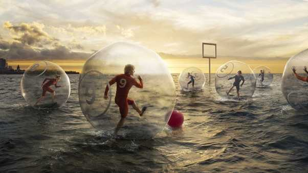 football, water, ball