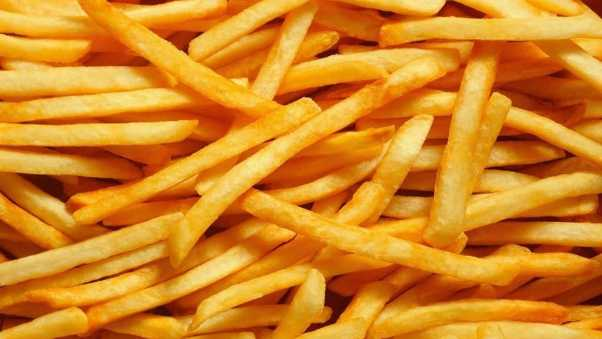 french fries, fried, slices