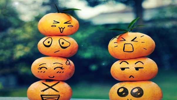 fruit, emoticons, smiley face