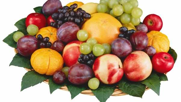 fruit, grapes, nectarines