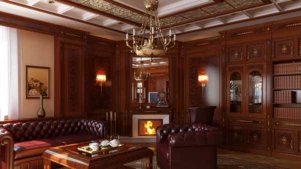 furniture, room, fireplace